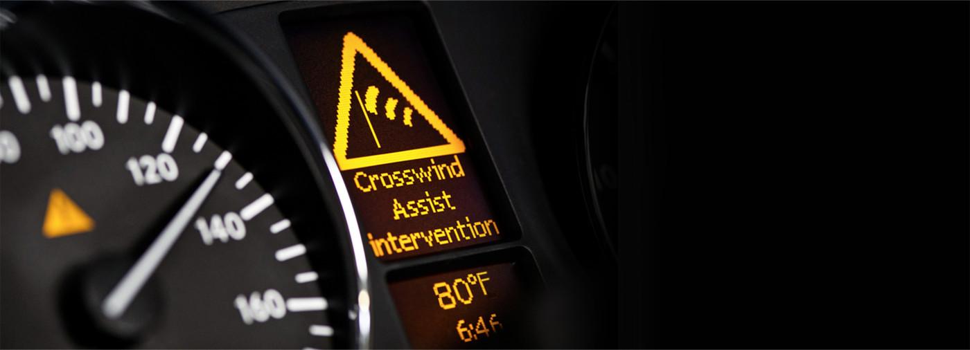 Mercedes-Benz Vans Crosswind Assist dashboard