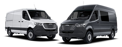 White and Black Sprinter Vans Side by Side