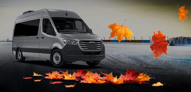 Autumn leaves around a Sprinter Van