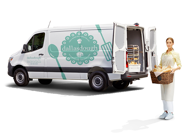 "A woman holding a basket of bread stands in front of a van painted with the words ""dallasdough, cakes, breads, pies, cookies, biscuits, homemade with love since 1989."""