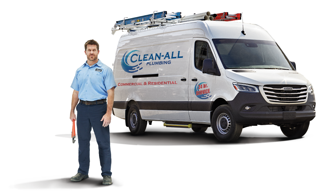 "A man holding a wrench stands in front of a van painted with the words ""Clean-All Plumbing, Commercial & Residential, 24-hr Service."" Ladders and pipes are strapped to the roof of the van."