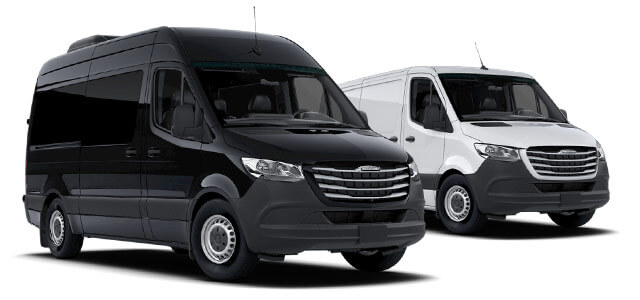 Black and White Freightliner Sprinters