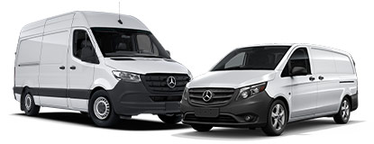 White Sprinter and Metris Vans