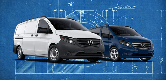 Two Metris vans placed on a blueprint background.