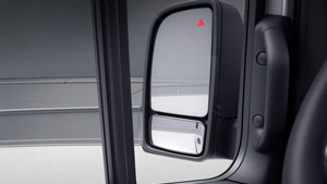 Mercedes-Benz Van blind spot assist symbol on side mirror