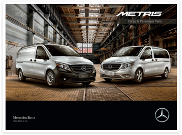 Metris Cargo and Passenger Vans on Metris Vans brochure cover
