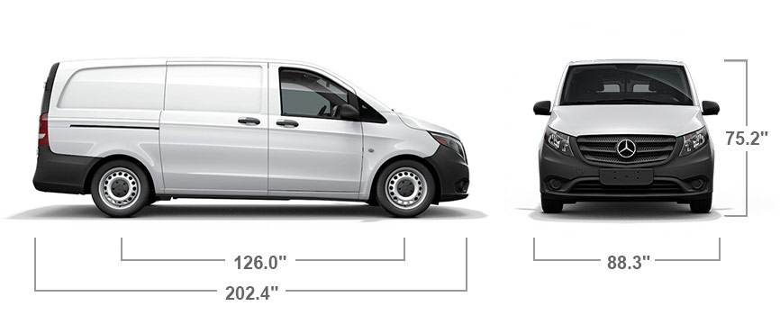 Front and side views of a white Metris WORKER Cargo Van