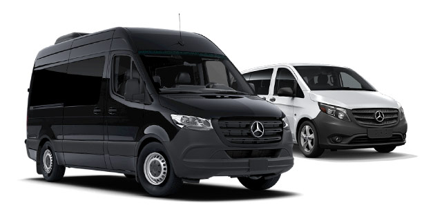 Black Mercedes-Benz Sprinter Van and White Mercedes-Benz Metris Van