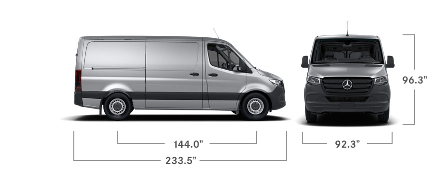 Front and side views of a silver Sprinter Cargo Van