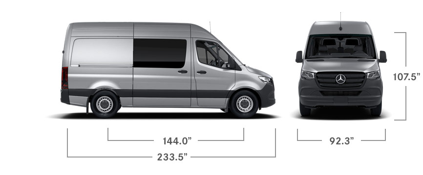 Front and side views of a silver Sprinter Crew Van