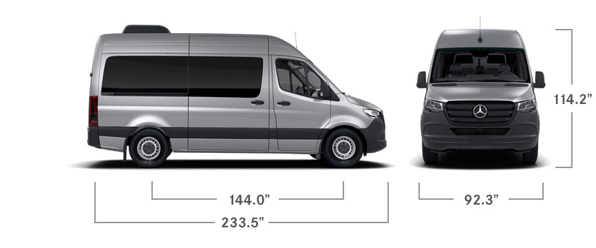 Front and side angles of a silver Sprinter Passenger Van