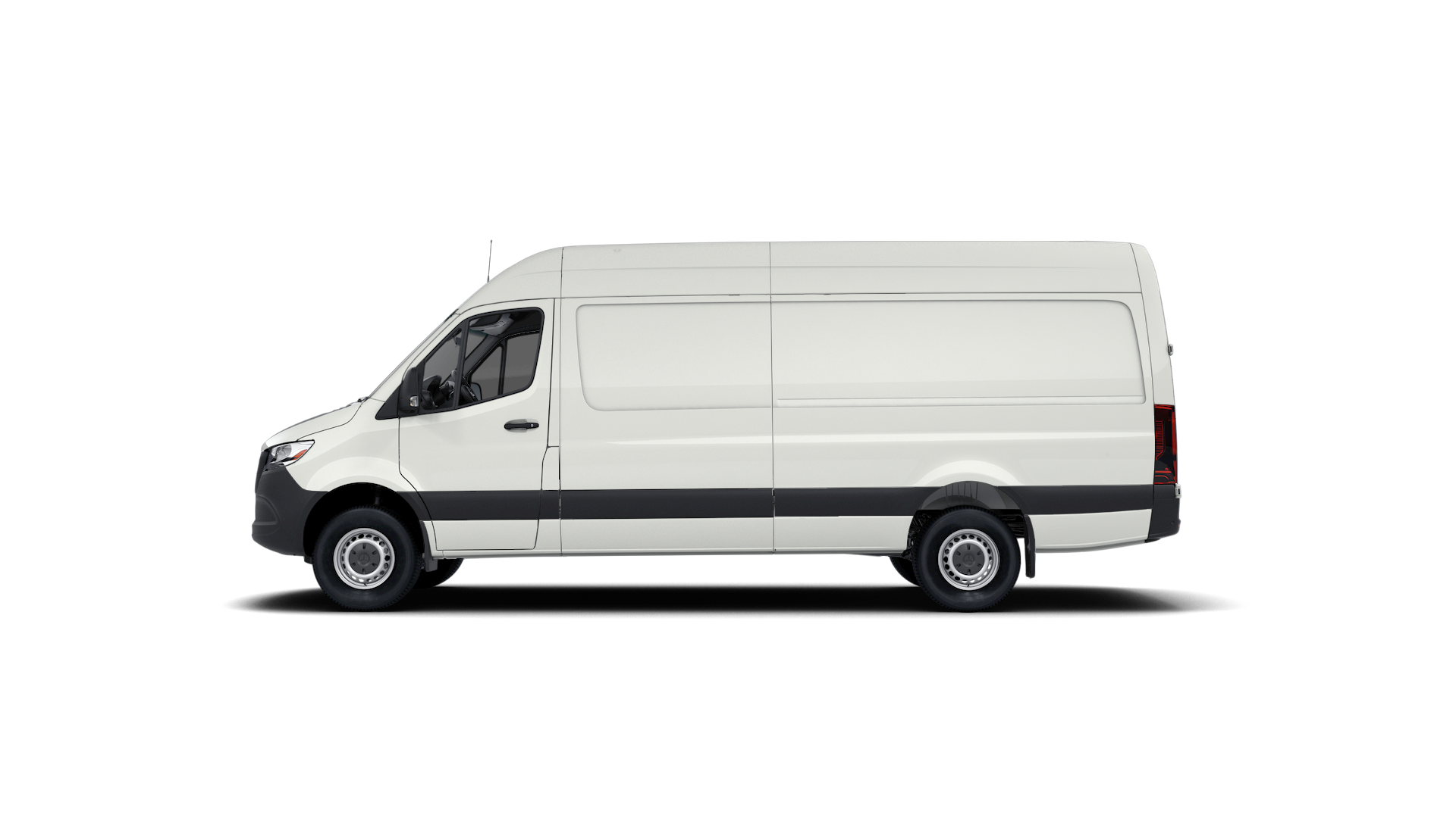 Driver's side front corner view of a Grey White SPRINTER Cargo Van