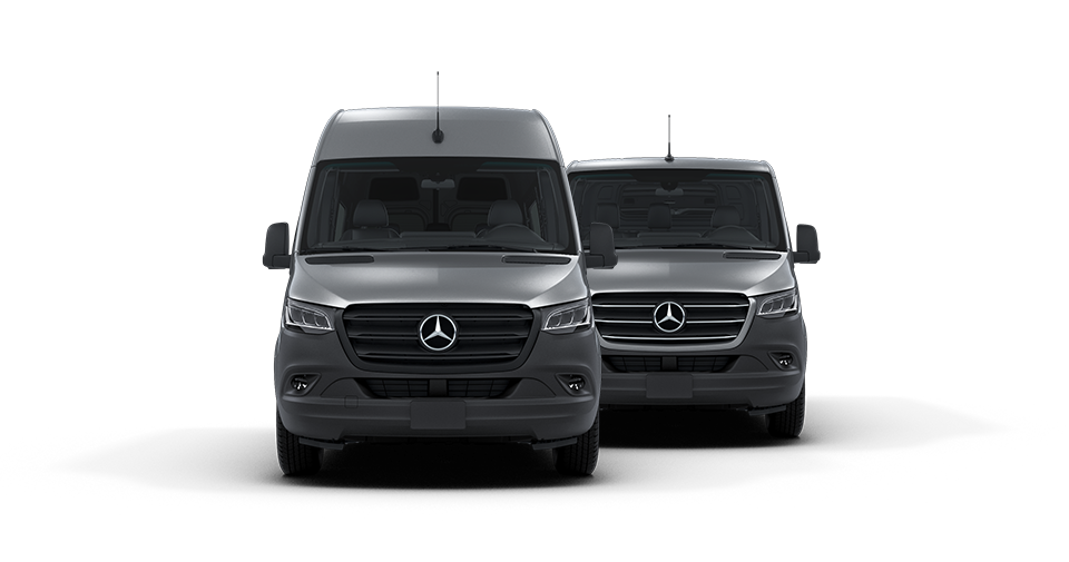 Lineup of Black Sprinter Vans