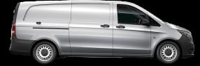 side profile of a silver Metris Cargo Van