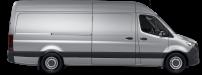 side profile of a silver Sprinter Cargo Van