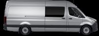 side profile of a silver Sprinter Crew Van