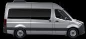 side profile of a silver Sprinter Passenger Van