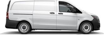side profile of a white Metris WORKER Cargo Van