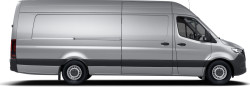 side profile of a silver Sprinter Cargo Van