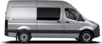 side profile of a silver Sprinter Crew Van