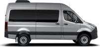 side profile of a silver Sprinter Passenger Van