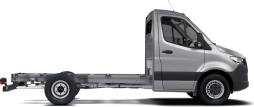 side profile of a silver Sprinter Cab Chassis Van