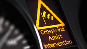 crosswind assist intervention alert