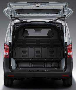 The back of a Metris Van with its rear door open