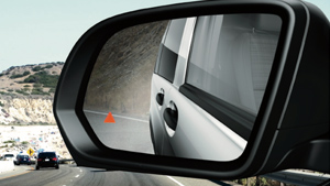 Metris Vans blind spot light on side mirror
