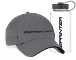 A gray hat and clear water bottle with the Sprinter logo