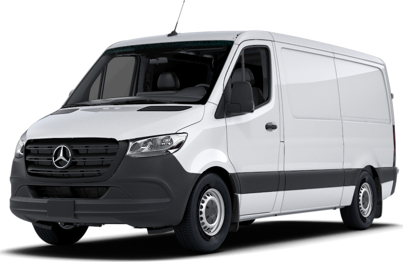Front angled view of a white Sprinter Cargo Van