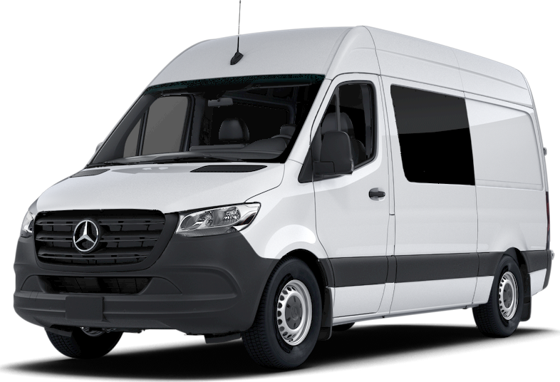 Front angled view of a white Sprinter Crew Van