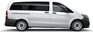 side profile of a white Metris Worker Passenger Van